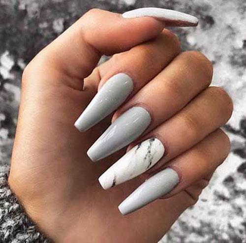 Grey Acrylic Nails