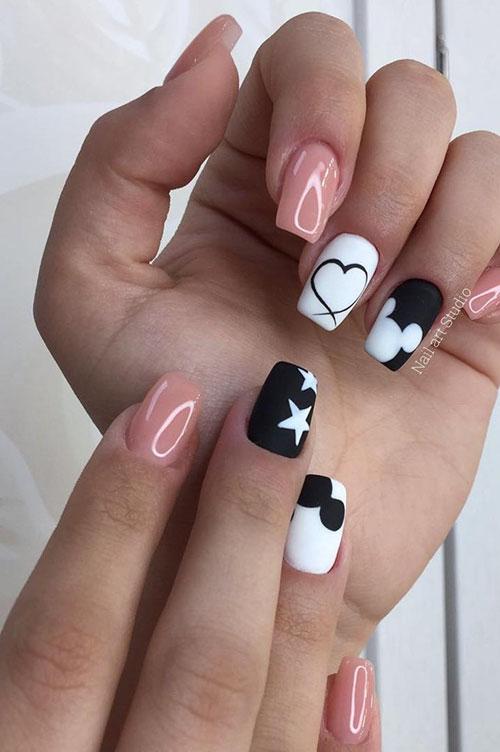 Half Black Half White Nails