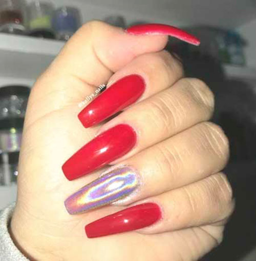 Acrylic Nails In Red