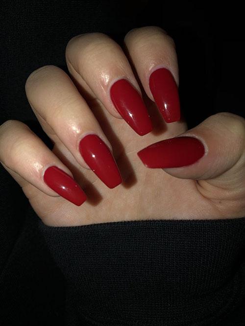 Crimson Red Acrylic Nails