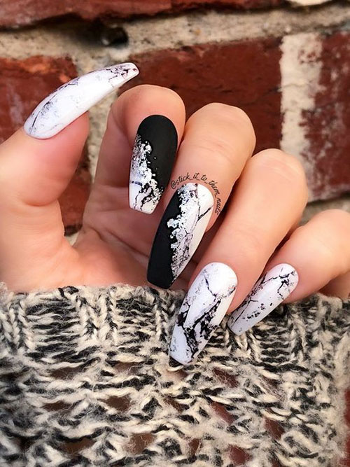 Black And White Checkered Nails