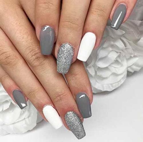 Acrylic Nails Grey