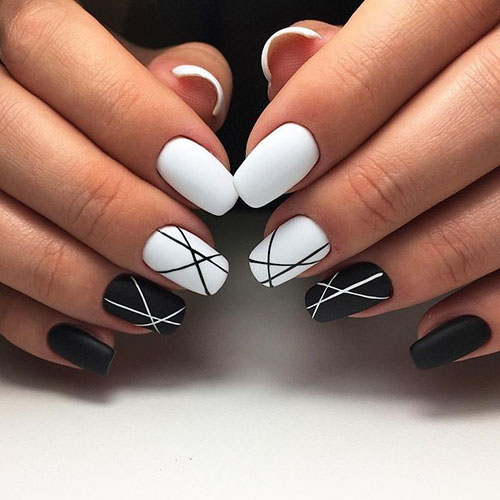 Acrylic Nails Black And White