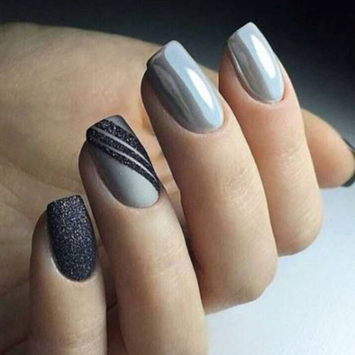 Grey Nails Acrylic