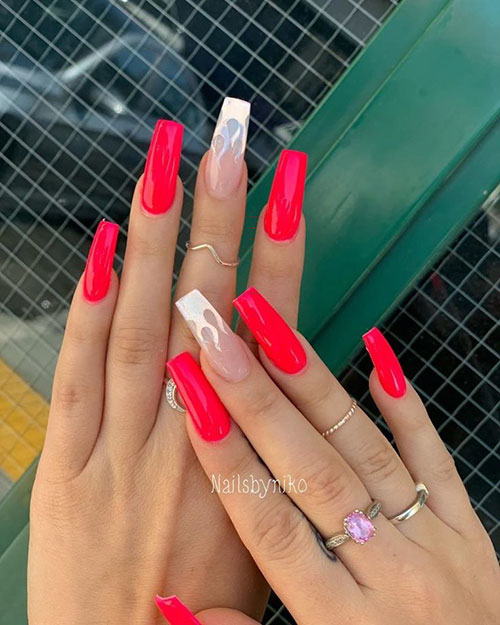 Red Nails Acrylic