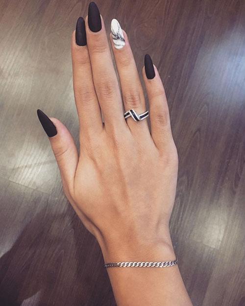 Black Nails With White Snowflakes