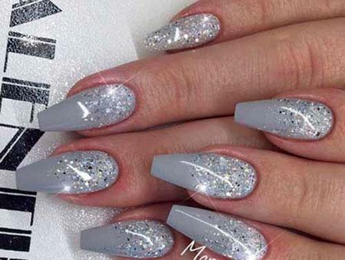 Acrylic Grey Nails