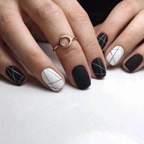 Black And White Checkered Acrylic Nails