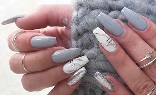 Grey False Nails