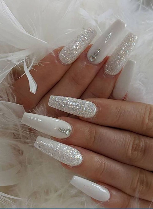 Coffin White Acrylic Nails
