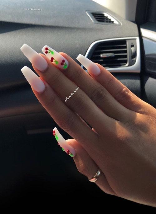 White Acrylic Coffin Nails