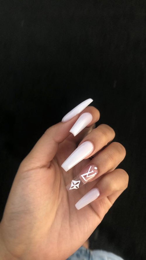 White Acrylic Nails Coffin