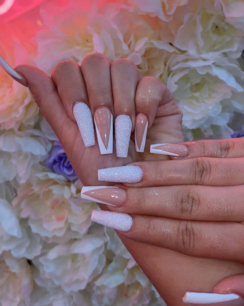 Coffin Acrylic Nails White