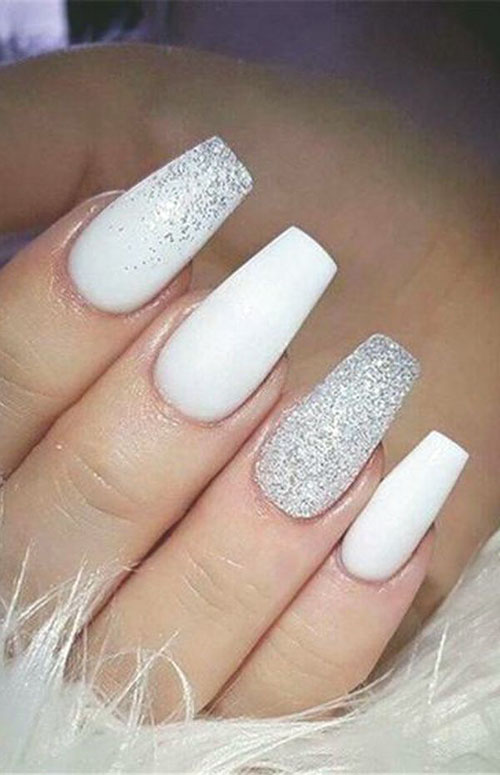 Acrylic Coffin Nails White