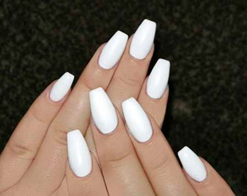 Coffin White Acrylic Nails