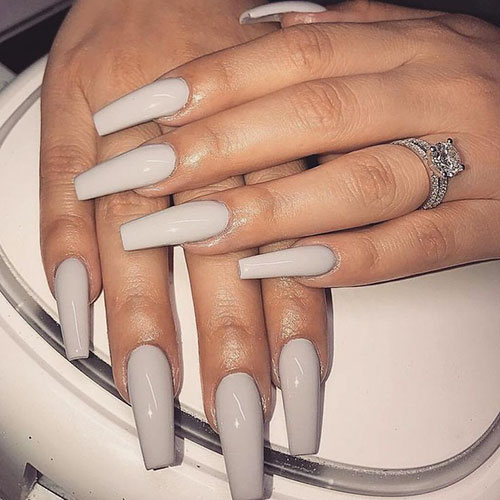 White Acrylic Coffin Nails