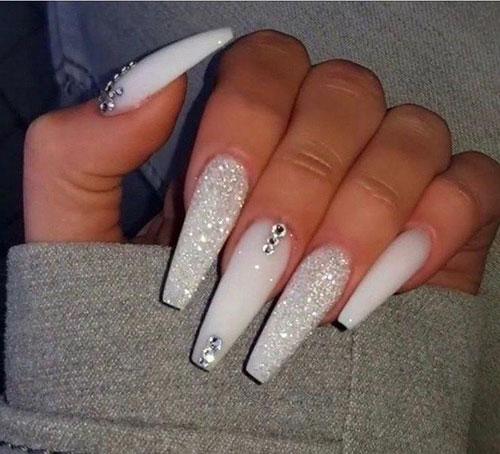 White Coffin Acrylic Nails