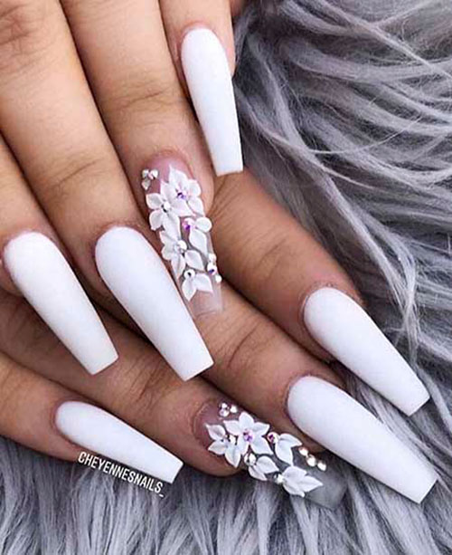 Acrylic White Coffin Nails